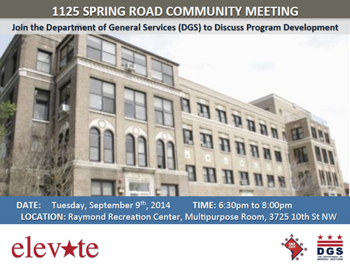 1125 Spring Road Re-Use Community Meeting Flyer September 9, 2014 at 6:30 pm (Download an accessible version, below)