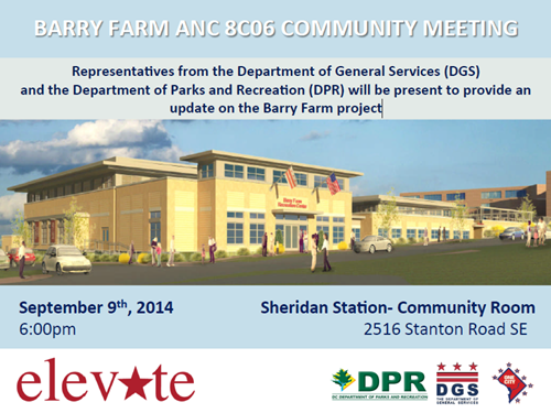Barry Farm Recreation Center Project Construction Update - ANC 8C06 Community Meeting Flyer September 9, 2014 at 6 pm (Download an accessible version, below)