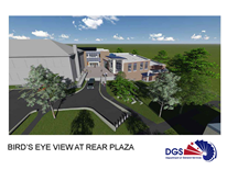 Hearst Elementary School Architects Rendering - Bird's Eye View at Rear Plaza