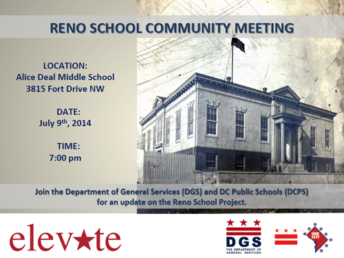 Reno School Project Update Community Meeting Flyer July 9, 2014 (Accessible version available, below)