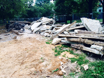 Rose Park Playground Demolition Image 2 - piles of old concrete awaiting removal 8-26-14