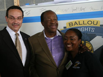 From left to right:  Mayor Vincent C. Gray, Marion Barry, Ward 8 Council Member and Dr. Yetunde Reeves, principal of Ballou High School - Ballou High School 'Topping Out' Ceremony