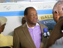 Marion Barry, Ward 8 Council Member, speaks to the press - Ballou High School 'Topping Out' Ceremony