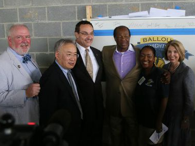 From left to right:  Brian J. Hanlon, DGS Director, Allen Y. Lew, City Administrator, Mayor Vincent C. Gray, Marion Barry, Ward 8 Council Member, Dr. Yetunde Reeves, principal of Ballou Senior High School, Emily Durso, Chief of Planning and Postsecondary Readiness, DCPS - Ballou High School 'Topping Out' Ceremony