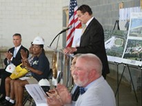 DC Mayor Vincent C. Gray speaks to crowd - Ballou High School 'Topping Out' Ceremony