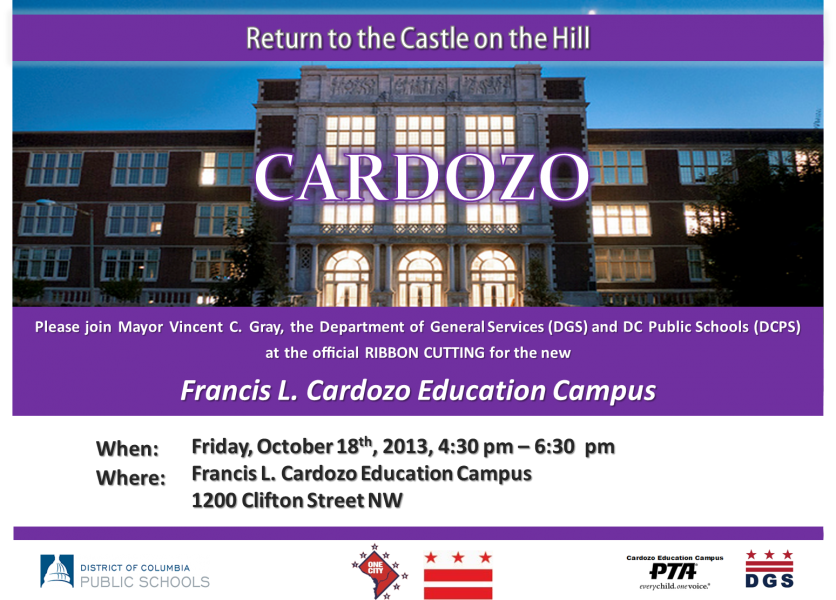 Flyer for Cardozo Ribbon Cutting