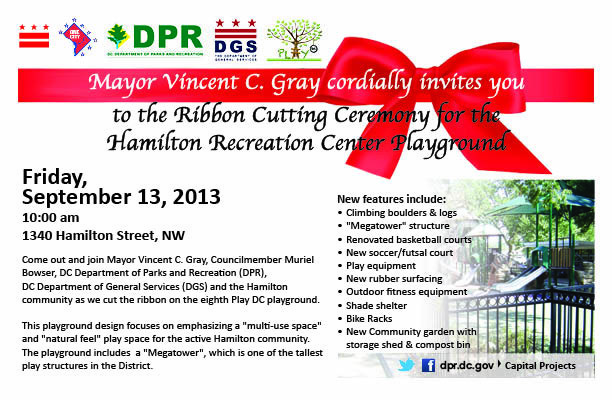 Hamilton Recreation Center Playground Ribbon Cutting Flyer graphic