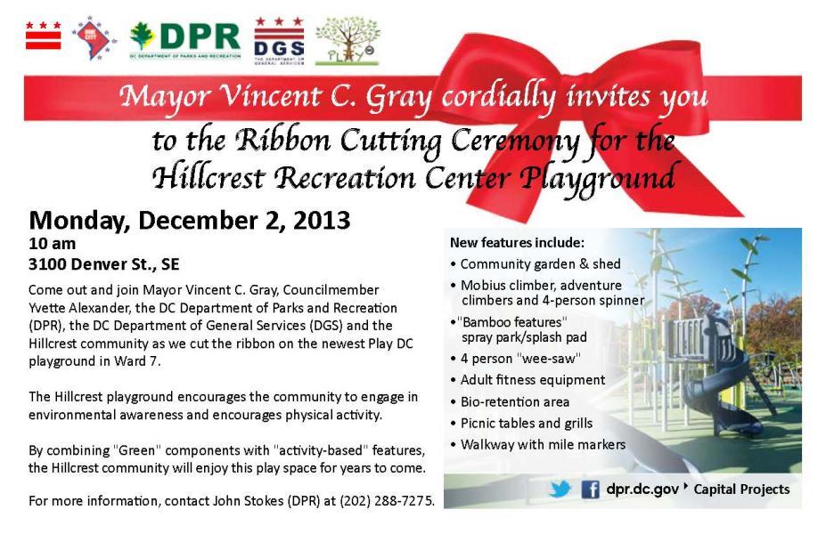 Hillcrest Recreation Center Playground Ribbon Cutting ...