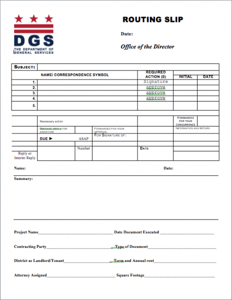 office routing slip template - dgs branding dgs