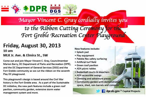 Fort Greble Ribbon Cutting Ceremony flyer graphic