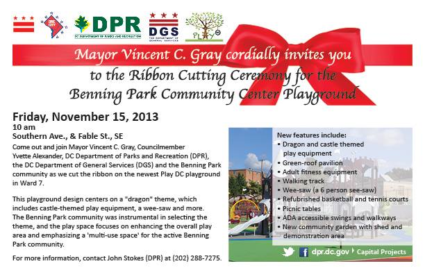 Benning Park Community Center Playground Ribbon Cutting Flyer