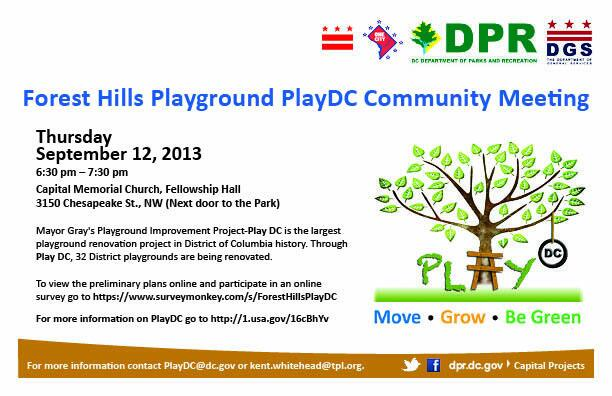 Forest Hills Playground PlayDC Community Meeting flyer