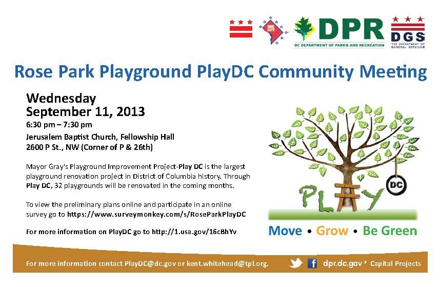 Rose Park Playground PlayDC Community Meeting flyer graphic