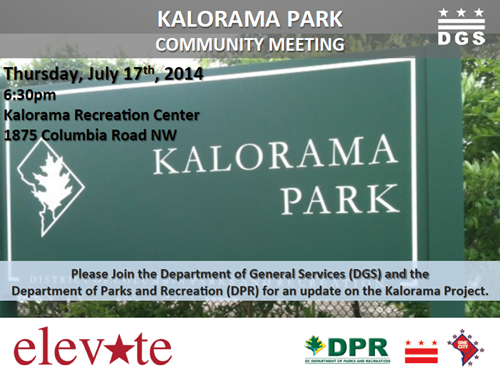 Kalorama Park Project Community Meeting July 17, 2014 (Accessible version available, below)