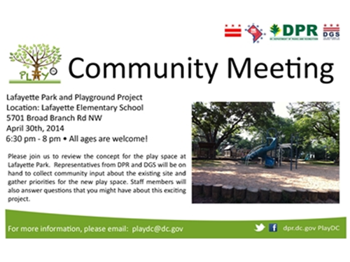 Lafayette Play DC Playground Community Meeting April 30, 2014