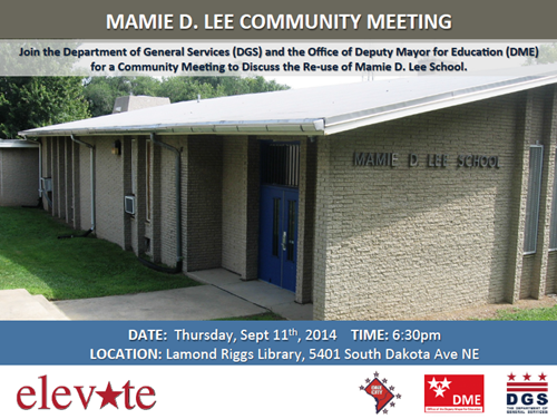Mamie D. Lee School Re-Use Project Community Meeting Flyer - September 11, 2014 (6:30 pm) (Download an accessible version, below)
