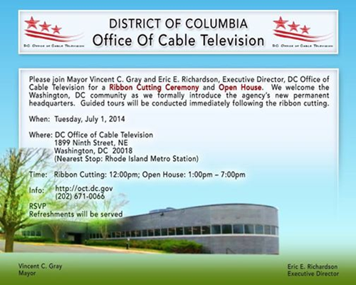 Ribbon Cutting Ceremony - District Office of Cable Television (OCT) - July 1, 2014