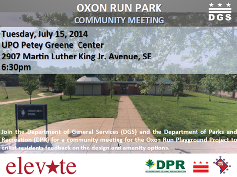 Oxon Run Playground Project Community Meeting Flyer July 15, 2014 (Accessible version available)