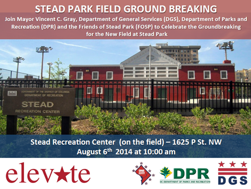 Stead Park Field's Ground Breaking August 6, 2014 Flyer (Download the accessible version, below)