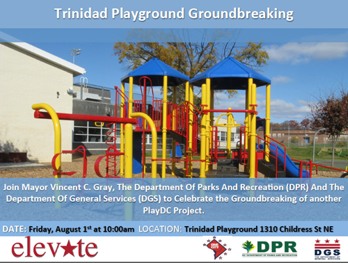 Trinidad Play DC Playground Ground Breaking Ceremony Flyer August 1, 2014 at 10 am (Download accessible version, below)
