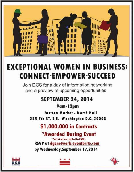 Exceptional Women in Business Outreach Event Flyer - September 24, 2014 (9 am to 12 pm) - Accessible version