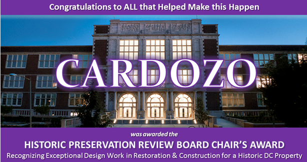 Cardozo High School Receives 2014 Historic Preservation Award of Excellence
