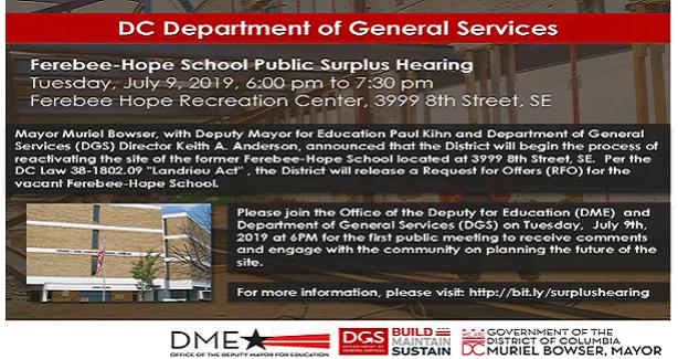 Ferebee-Hope School Public Surplus Hearing