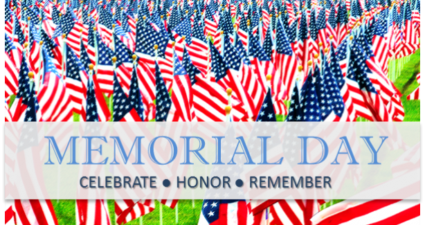 Memorial Day Graphic with US Flags in Field