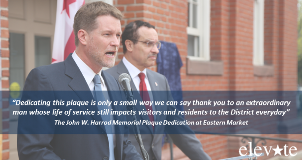 The John W. Harrod Memorial Plaque Dedication at Eastern Market Carousel Graphic