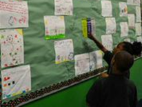 Stanton third graders show off their signs on litter prevention and waste reduction.