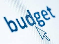 The word budget with a computer cursor under it