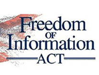 Freedom of Information Act (FOIA) graphic - text overlaying an American flag rendering