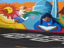 Painting of a little girl reading a book with gardener and sun in the background