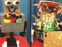 Two examples of playful recycling bin robots created by students at Mamie D. Lee School.