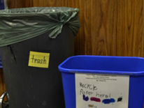 """As a result of the  PAC, """"Giving Back: West Style,"""" all classrooms at West now have a trash can and a recycling bin labeled with labels DGS provided and adorable student-made recycling posters."""