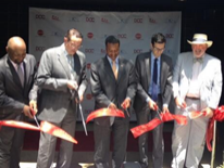 Mayor Gray, Brian hanlon (DGS Director) and other DC Officials at the District's Office of Cable Television (OCT) Ribbon Cutting Ceremony July 1, 2014